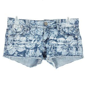 ALMOST FAMOUS Floral Jean Shorts Cut-off Stretch
